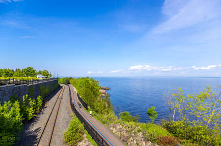 erikson: Duluth, Minnesota - June 20, 2013   Scenic view of railway tracks along the Lakewalk in Duluth next to Leif Erikson Park overlooking Lake Superior