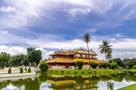 Bang Pa-in, Ayutthaya, Thailand - July 07, 2013   Bang Pa-In Royal Palace, also known as the Summer Palace, is a palace complex formerly used by the Thai kings  The palace is located on the Chao Phraya River bank in Bang Pa-In district, Ayutthaya Province