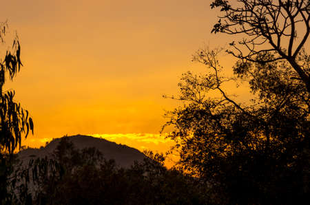 Sunset viewed from the Sunset Point in Mount Abu, Rajasthan in India