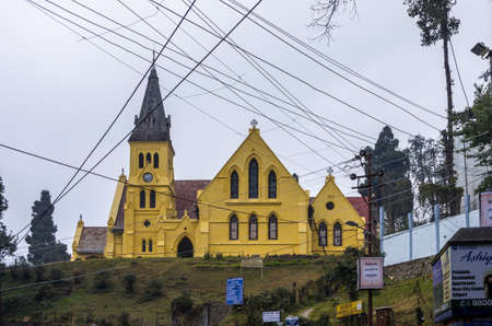 west bengal: Darjeeling, West Bengal - January 8, 2014   St  Andrew Church in Darjeeling on a foggy winter evening  Darjeeling is a town in West Bengal state of India  A popular tourist destination, it is located in the Mahabharat Range or Lesser Himalaya at an averag Editorial