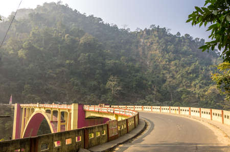 The Coronation Bridge, spans across the Teesta River, connecting the districts of Darjeeling and Jalpaiguri  National Highway 31 runs across it  It is situated close to Siliguri town of India  Stock Photo