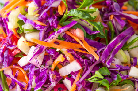Closeup of salad made of mixed colourful vegetables  Stock Photo