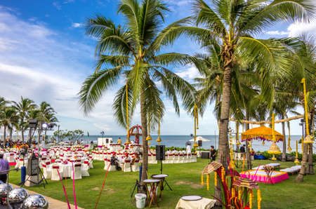 Hua Hin, Thailand - July 1st, 2014   Preparations being done for an Indian wedding ceremony at the ocean front of Sheraton Hua Hinn Resort   Spa in Hua Hin, Thailand
