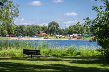 Eden Prairie, MN - August 12, 2014 - A view of the Round lake in Eden Prairie, MN, USA. It is named round lake as it is absolutely round in shape.