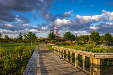 View of the beautiful Pugatory Creek Park pavillion in Eden Prairie, Minnesota, USA.