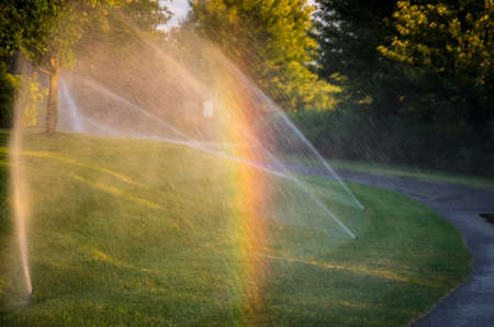 A rainbow in the water spray from the grass sprinklers