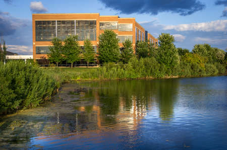 Eden Prairie, MN - August 11th, 2014: Blend of work with nature. An office building at the Pugatory Creek Park in Eden Prairie, Minnesota, USA. Editorial