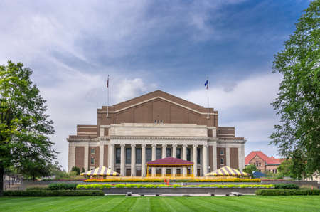 Minneapolis, Minnesota - August 20, 2014: The magnificient Northrop Memorial Auditorium in the East Bank campus portion of  the University of Minnesota, Twin Cities.  It is the oldest and largest campus within the University of Minnesota system.