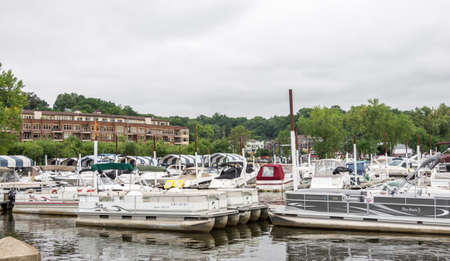 Stilwater, Minnesota - Aug 23,  2014 : Stillwater is a city in Washington County, Minnesota, directly across the St. Croix river from the state of Wisconsin. Boats are moored in the Stillwater Boat club.