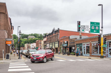 Stilwater, Minnesota - Aug 23,  2014 : Stillwater is a city in Washington County, Minnesota, directly across the St. Croix river from the state of Wisconsin. In the background is the historic downtown