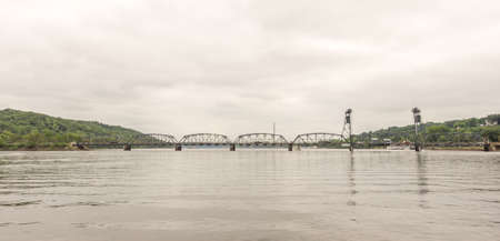 Stilwater, Minnesota - Aug 23,  2014 : Stillwater is a city in Washington County, Minnesota, directly across the St. Croix river from the state of Wisconsin. The lift bridge is in the background Editorial