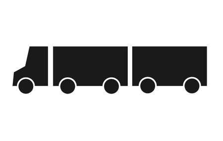 Silhouette truck with wagon icon flat vector illustration. Delivery van, service concept, minimalistic sign isolated on white background. Flat style for graphic design. Delivery lorry side view. Vectores