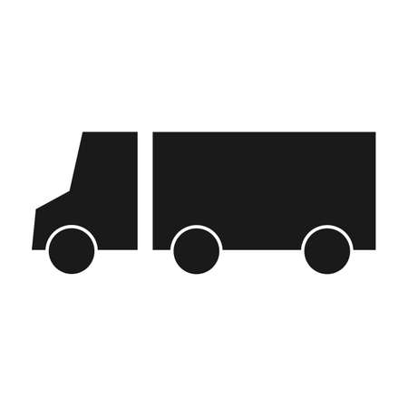 Silhouette transport truck icon flat vector illustration. Delivery van, service concept, Minimalistic sign isolated on white background. Trendy Flat style for graphic design. Delivery lorry side view.