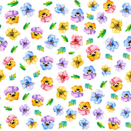 Watercolor seamless floral pattern with summer flowers viola tricolor pansy and leaves in white background for textile,fabric,wallpaper