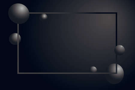 Abstract matte black background. Gray horizontal luxury frame with 3d spheres cluster. Silver bubbles. Vector illustration of balls. Vertical banner or poster design. Иллюстрация