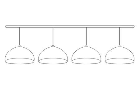 A set of 4 semicircular billiard bulbs hanging in a row on the wires on horizontal stick. Vector illustration pool lamps outline. For store icon templates for billiards, equipment, electricity Illustration