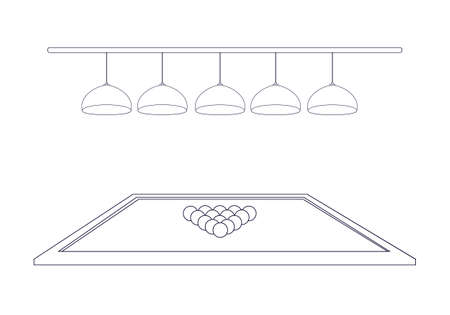Billiard table with 5 illuminating lamps and triangle balls in the style of thin line outline. Five hanging ceiling chandeliers. Side view. Vector illustration