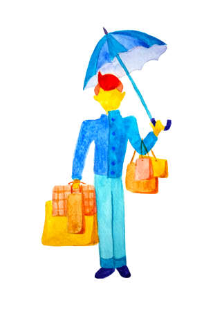 Autumn fashion sales and discounts. A man in a blue coat is standing on a white background isolated, holding the umbrella in his hands. A young buyer has a lot of shopping bags. Watercolor