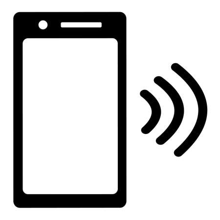 Phone with waves of NFC or wifi. Distribution of the Internet through a wireless network. Payment by cashless goods. Vector illustration icon. Иллюстрация