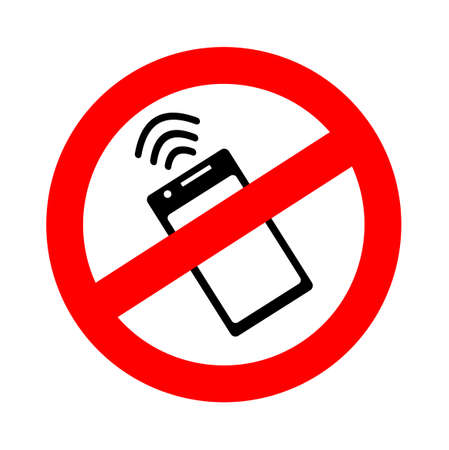 Forbidden sign to use NFc technology in a smartphone with waves of non-cash Near field communication payment. Icon absence and impossibility of contactless payment. Vector illustration.