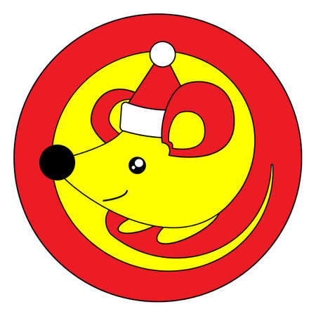 Happy Chinese New Year 2020 year of the rat. Yellow mouse in christmas cap on a red background in cartoon flat style. Zodiac Sign Year of Rat. Round stamp template for stickers or balls. Illusztráció