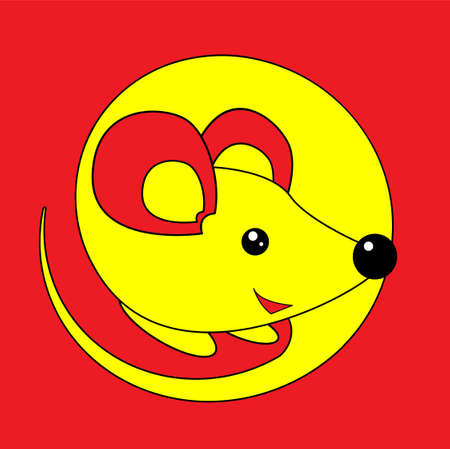 Happy New Year 2020 year of the rat. Yellow mouse on a red background in cartoon flat style. Chinese Zodiac Sign Year of Rat.