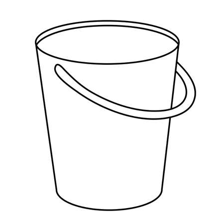 Bucket outline icon. Pail with handle simple line vector template. Linear style sign for mobile concept and web design.