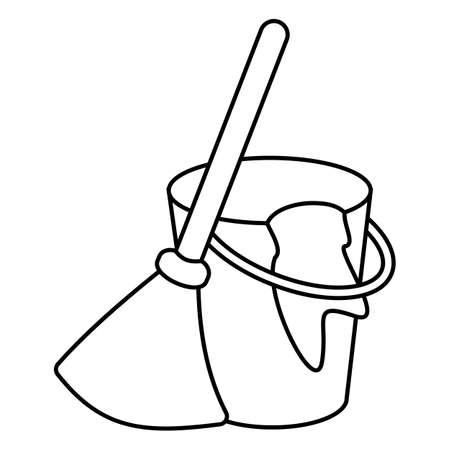 Besom with stick and pail with handle and rag. Silhouette broom, bucket and glove simple line vector style.  Concept hygiene and clean home