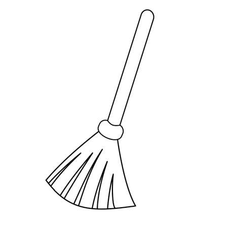 Broom outline icon. Besom with stick simple line vector template. Linear style sign for mobile concept and web design. Ilustración de vector