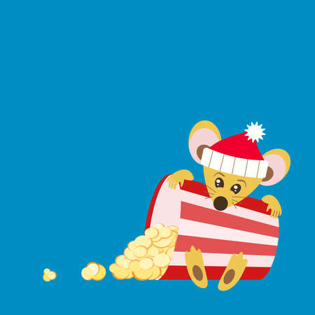 New Year movie show. Invitation to the cinema for a Christmas film. The Chinese symbol of the 2020 new year is a yellow rat holding an inverted striped container with scattered popcorn