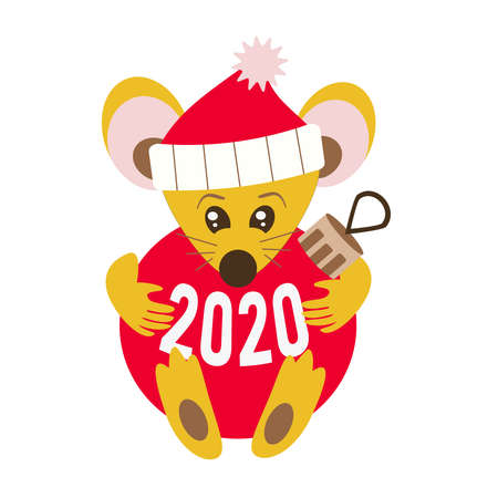 Happy chinese New year 2020 Rat zodiac sign. Cute yellow mouse in a santa hat hugs holds a Christmas tree red ball. Isolated on a white background.
