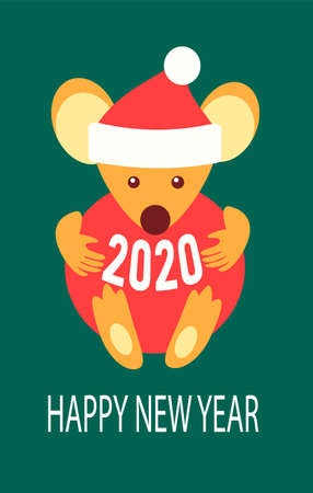 Green card Happy New year. Chinese symbol rat zodiac sign. Cute white mouse in a santa hat hugs holds a Christmas tree red ball. Greeting postcard or invitation to the party. Stock fotó