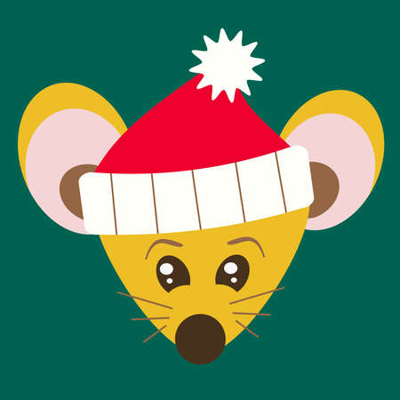 New Chinese 2020. Zodiac sign rat. Portrait of a cute mouse in a red santa claus hat on a green background with big eyes and small ears Stock fotó
