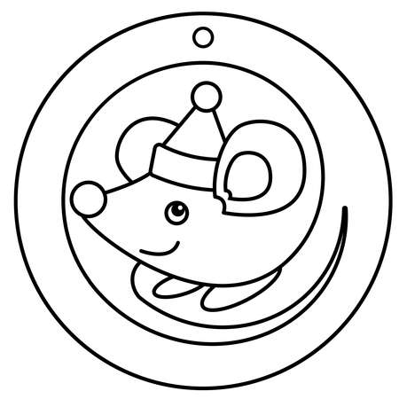 Cute christmas mouse sits coiled up in ball. Rat in santa hat. Round template for lazer or print without tail or fine outstanding details. Vector, black white outline. Winters coloring book.