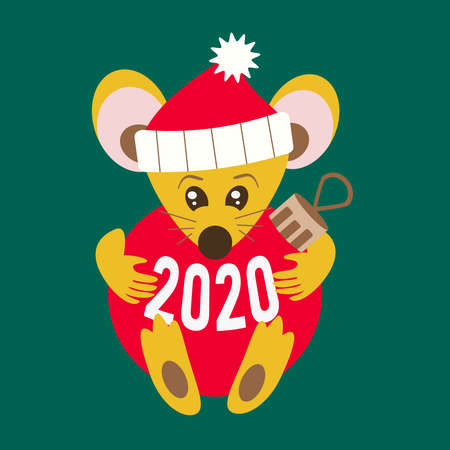 Cute christmas rat holds new year ball in cartoon style. Mouse in santa hat as symbol Happy chinese New year 2020 Rat zodiac sign.  Vector illustration, in green background. Stock fotó