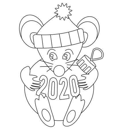 Coloring Page Children. Cute christmas mouse rat in santa hat holds and hugs ball in cartoon style. Vector illustration, black white outline. Winters coloring book for kids. Happy Chinese New year 版權商用圖片