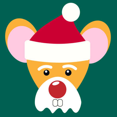 Mouse Santa Claus. Portrait of a cute rat mouse in a red hat and Santa Claus beard on a green background with big eyes and small ears and a huge red nose. Two protruding rodent teeth Stock fotó