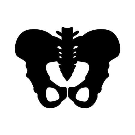 Black silhouette of hip bones structure. Main pelvic bones - sacrum, ilium, coccyx, pubis, ischium. Vector illustration isolated on white background.