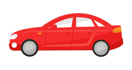 Profile red sedan car in flat style. Vector illustration of a automobile side view on a white background isolated Иллюстрация