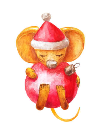 Cute rat in santa hat holds christmas glass red ball in his paws. Happy New Year 2020 Chinese mouse. Cozy watercolor isolated on a white background Stock fotó
