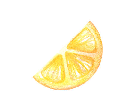 Half circle of a thin slice of juicy lemon in a watercolor style isolated on a white background