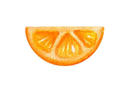 Half circle of a thin slice of juicy citrus orange in a watercolor style isolated on a white background.