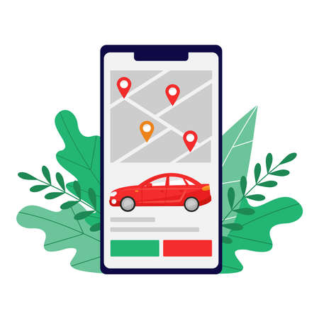 Smart city transportation vector illustration concept, Online red car sedan sharing in screen of smartphone, can use for landing page, template, ui, web, mobile app, poster, banner, flyer