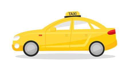 Yellow taxi car. Cab sedan isolated on white background