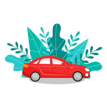 Red passenger car sedan on a background of foliage. Eco concept. Vector illustration in flat style isolated