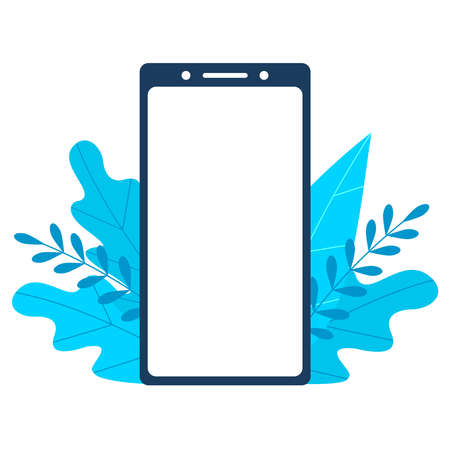 Smartphone template with blank screen on foliage background. Phone on floral backdrop. Screen surrounded by lush exotic light blue leaves Stock Illustratie