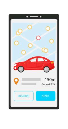 Aplicación móvil para compartir coche. Pantalla del teléfono con el coche más cercano en el mapa. Botones de reserva y arranque. Información de carsharing sobre la ubicación y la cantidad de combustible de un automóvil negro.