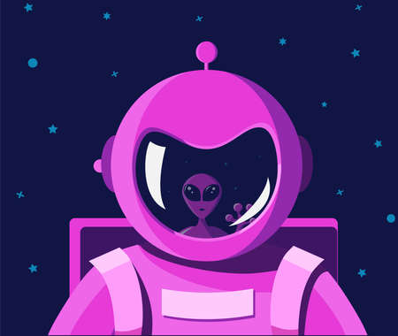 Intergalactic and interplanetary encounter with an alien. Portrait of an astronaut in a pink spacesuit with a helmet without a face. The astronaut shutter reflects the face of a good alien