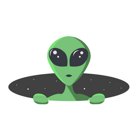 Green alien climbs out from the hole of space with stars. Extraterrestrial in flat cartoon style for t-shirt, print or textile.  Vector illustration.