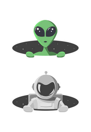 Alien and cosmonaut climbs out from the hole of space with stars. Extraterrestrial and astronaut looks out of a black round hole. Monster and human in flat cartoon style Vector illustration.